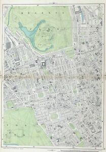 """LONDON, 1900 - MAYFAIR, REGENTS PARK, Original 9"""" scale Antique Map, Bacon."""