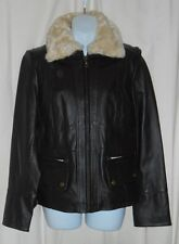A.N.A Ladies Faux Fur Collar Genuine Leather Lambskin Jacket Brown Medium (M)