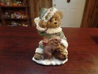 "4"" Tall Dollar Tree Christmas Teddy Bear W/Rabbit Figurine #4604"