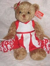 "New ! Gund cheerleading Poms Britany Je m'appelle white & red 13"" brown bear"