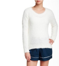 New PJ SALVAGE Women's Boucle Ivory Super Soft Heathered Crew Neck Sweater Top M