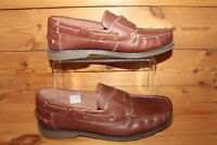 SAMUEL WINDSOR MEN'S TAN BROWN  LEATHER LOAFERS SLIP-ON SHOES UK 8 - aug16