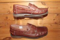 SAMUEL WINDSOR MEN'S TAN BROWN  LEATHER LOAFERS SLIP-ON SHOES UK 8 - aug16