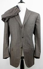 Isaia Napoli Brown Flannel Chalk Stripe S120s Stewart Suit 48r Flat Front 37/30