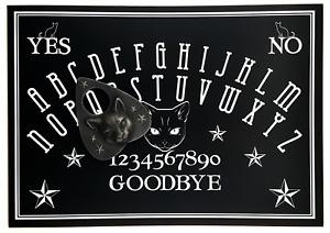 A4 Wooden Black Cat Ouija Board Game, Dark Ouija Board with Cat Face Planchette