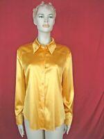 LAUREL Orange Silk Long Sleeve Blouse