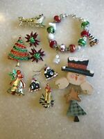 Lot Christmas Pins Brooches, Earrings, Glass Beads Bracelet / 2 Gerry's, Beatrix