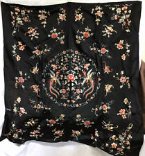 Antique Black Silk Embroidered Tablecloth Flowers and Birds Asian Decoration