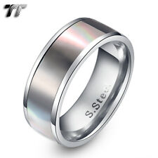 TT 8mm Stainless Steel Inlaid Mother Pearl Wedding Band Ring (R194)