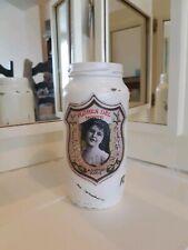 Old White Painted Glass Jam Jar, Paris Pefume, Perfect For Flowers