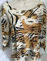 Jane Ashley Top Size XL 3/4 Sleeve Animal Print Beaded Sequin Casual Brown Black