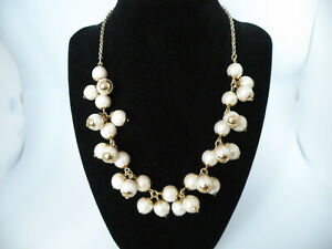 """Elegant J Crew Pearl Charms Beaded Chain Chunky Gold Tone 16"""" Jewelry Necklace"""