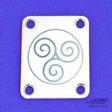 PLAQUE MANCHE NECK PLATE BLUE TRISKELL DESIGN CHROME Laser engraved