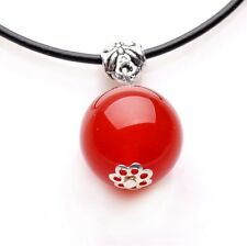 NaturalSexy Handmade 14mm red agate beads necklace sweater chain pendant