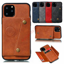 Mens/Women's PU Leather Card Holder Stand Car Mount Protective Back Case Cover