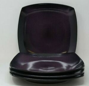 Gibson Home Stoneware Soho Lounge 4pc Dinner Plates in Purple/Black