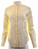 TOMMY HILFIGER Womens Shirt US 6 Medium Yellow Striped Cotton Fitted  HA03