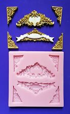 ORNATE CORNERS, BORDERS SILICONE MOULD FOR CAKE TOPPERS, CLAY ETC
