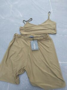 Pretty Little Thing Khaki Two Piece Shorts And Crop Top Size 16