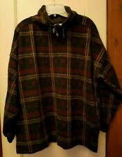 Plaid Acrylic Sweater Jacket Top with Zip Neck Energie Large
