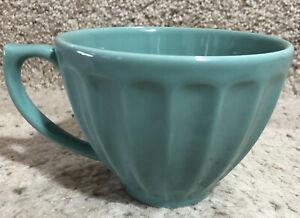 Anthropologie Biscuit Coffee Mug Tea Cup 12 Oz Aqua Ribbed Sides New