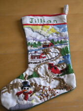 Vintage Personalized Jillian Crewel Embroidered Christmas Stocking Snowman