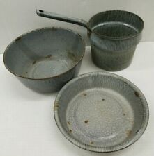 Lot Vintage Gray Graniteware Enamelware Basin Bowl Handled Pan