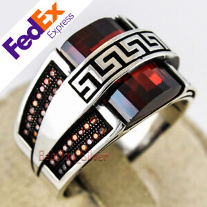 925 Sterling Silver Turkish Handmade Jewelry Ruby Faceted Men's Ring All Sizes