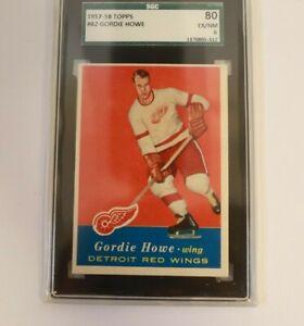 Gordie Howe 1957 Topps NHL Hockey Card Detroit Red Wings SGC 6