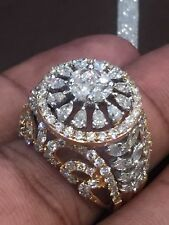 Pave 3.98 Cts Round Princess Marquise Pear Cut Natural Diamonds Ring In 14K Gold