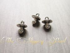 10 Pacifier Charms Antiqued Silver Baby Themed Pendants Set 3D 2 Sided
