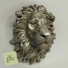 Gran cabeza de león Busto Antiguo Arte bronceada montado en la pared pantalla función Escultura