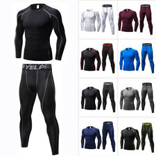 Mens Compression Sports Workout Shirts Pants Gym Clothes Base Layers Skin Tights