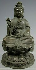 China Chinese Bronze Figure of Kwan Yin Holding Scroll on Lotus base ca. 20th c.