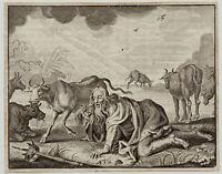 verzauberter KÖNIG auf der Weide Orig. Kupferstich 1650 Kühe Krone Märchen Gras