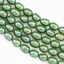 5-6mm Green Rice Oval Drop Freshwater Pearls Beads for Jewellery Making