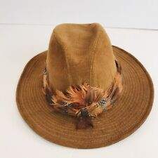 Mens Levi Strauss Vintage Brown Corduroy Hat Feathers
