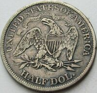 1867-S Seated Liberty Silver Half Dollar in SAFLIP® - XF- (VF+++) Details