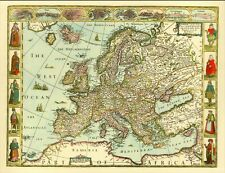 EUROPE Replica 17c. Old Map ALL Hand Coloured Great Gift! UK POST FREE!