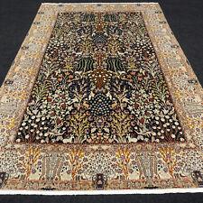 Orient Teppich Nain 270 x 173 cm Seide Dunkelblau Perserteppich Gartenmotive Rug