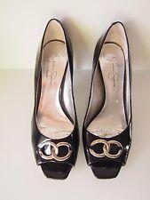 JESSICA SIMPSON Black Patent Leather Peep Toe Mid Heels Sz 9 / 39   GOOD COND