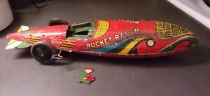 Vintage MARX Tin Litho Wind- Up Rocket Racer for Parts or Repair
