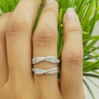 0.85Ct Round Cut VVS1 Diamond Enhancer Guard Ring 14K White Gold Finish
