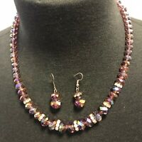 Vintage Strand Amethyst Glass Crystal Bead Necklace with Earrings A2