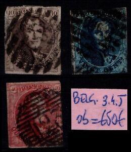 BELGIQUE : TIMBRES 3, 4 et 5, Oblitérés = Cote 650 € / Lot ETRANGER