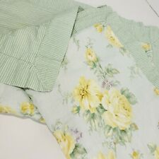 Laura Ashley Lifestyles Pillow Shams  Set Of 2 Green Yellow Floral Striped