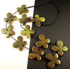 1 Hand Carved & Painted Green Wood Butterflys Dangle Necklace - # B65