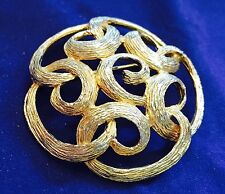 """Brooch Aprox 2-1/4"""" Round Sarah Coventry 1970s Filigree Vines"""