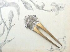 Ancien Peigne / Bijoux de tête en métal filigrané Chignon Coiffure XIXeme