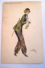 Vintage Art Deco French Lady w/ Colorful Pants, Tailored Jacket & Derby Hat *